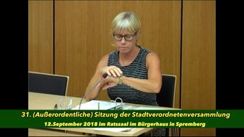 31. (Außerordentliche) Sitzung der Stadtverordnetenversammlung am 12. September 2018