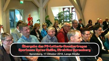 Übergabe des PS-Lotterie-Zweckertrages  Sparkasse Spree-Neiße, Direktion Spremberg