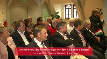 Übergabe des PS-Lotterie-Zweckertrages  Sparkasse Spree-Neiße, Direktion Spremberg am 11.10.2017