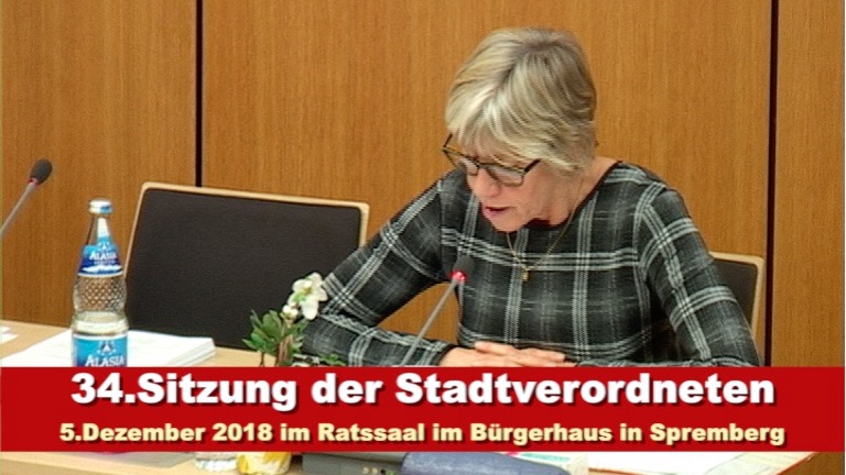 34. Sitzung der Stadtverordnetenversammlung am 5. Dezember 2018 in Spremberg