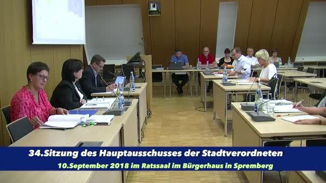 34. Sitzung des Hauptausschusses am 10. September 2018