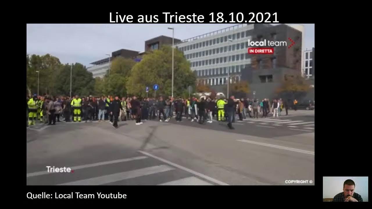 LIVE Trieste, presidio No Green Pass Berichterstattung  (gemäß des) Grundgesetzes Art.5